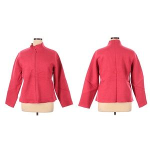 Eileen Fisher wool jacket full zip red